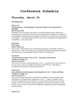 Conference Schedule  Thursday, March 29