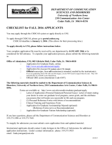 CHECKLIST for FALL 2016 APPLICANTS DEPARTMENT OF COMMUNICATION 230 Communication Arts Center