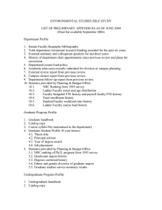 ENVIRONMENTAL STUDIES SELF-STUDY  LIST OF PRELIMINARY APPENDICES AS OF JUNE 2004