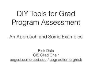 DIY Tools for Grad Program Assessment An Approach and Some Examples Rick Dale