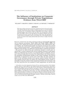 The Influence of Institutions on Corporate Governance through Private Negotiations: