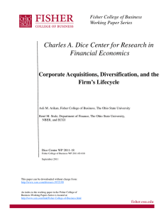 Charles A. Dice Center for Research in Financial Economics Firm's Lifecycle