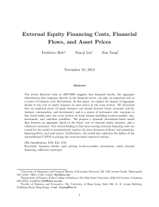 External Equity Financing Costs, Financial Flows, and Asset Prices Frederico Belo Xiaoji Lin