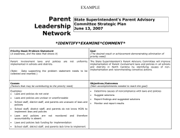 Parent Leadership Network EXAMPLE