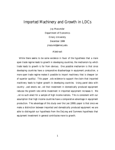 Imported Machinery and Growth in LDCs