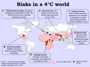 Risks in a 4°C world Temperature increase