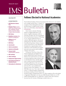 Bulletin IMS   Fellows Elected to National Academies Contents