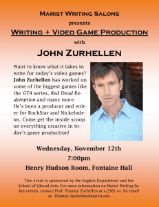 John Zurhellen Writing + Video Game Production Marist Writing Salons