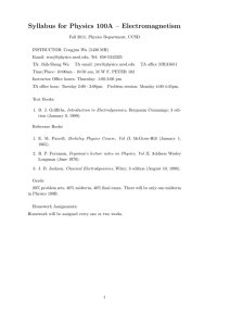 Syllabus for Physics 100A – Electromagnetism