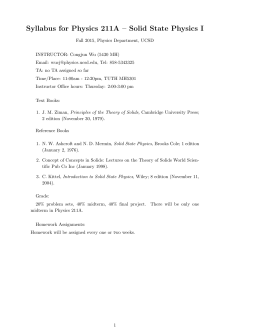 Syllabus for Physics 211A – Solid State Physics I