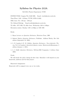 Syllabus for Physics 212A