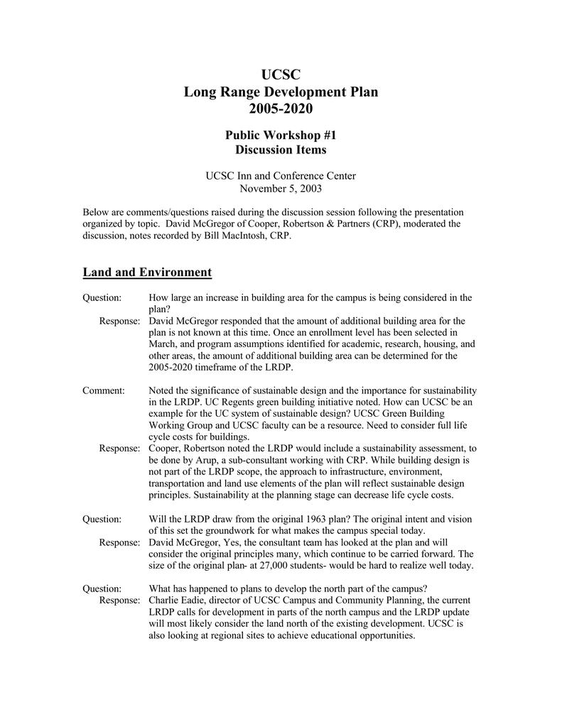 Ucsc Summer Session 2020.Ucsc Long Range Development Plan 2005 2020 Public Workshop 1
