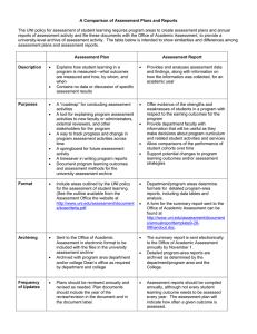 A Comparison of Assessment Plans and Reports
