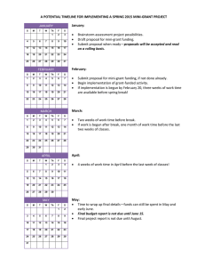 A POTENTIAL TIMELINE FOR IMPLEMENTING A SPRING 2015 MINI-GRANT PROJECT January: