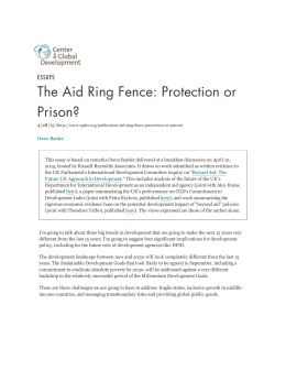 The Aid Ring Fence: Protection or Prison? ESSAYS