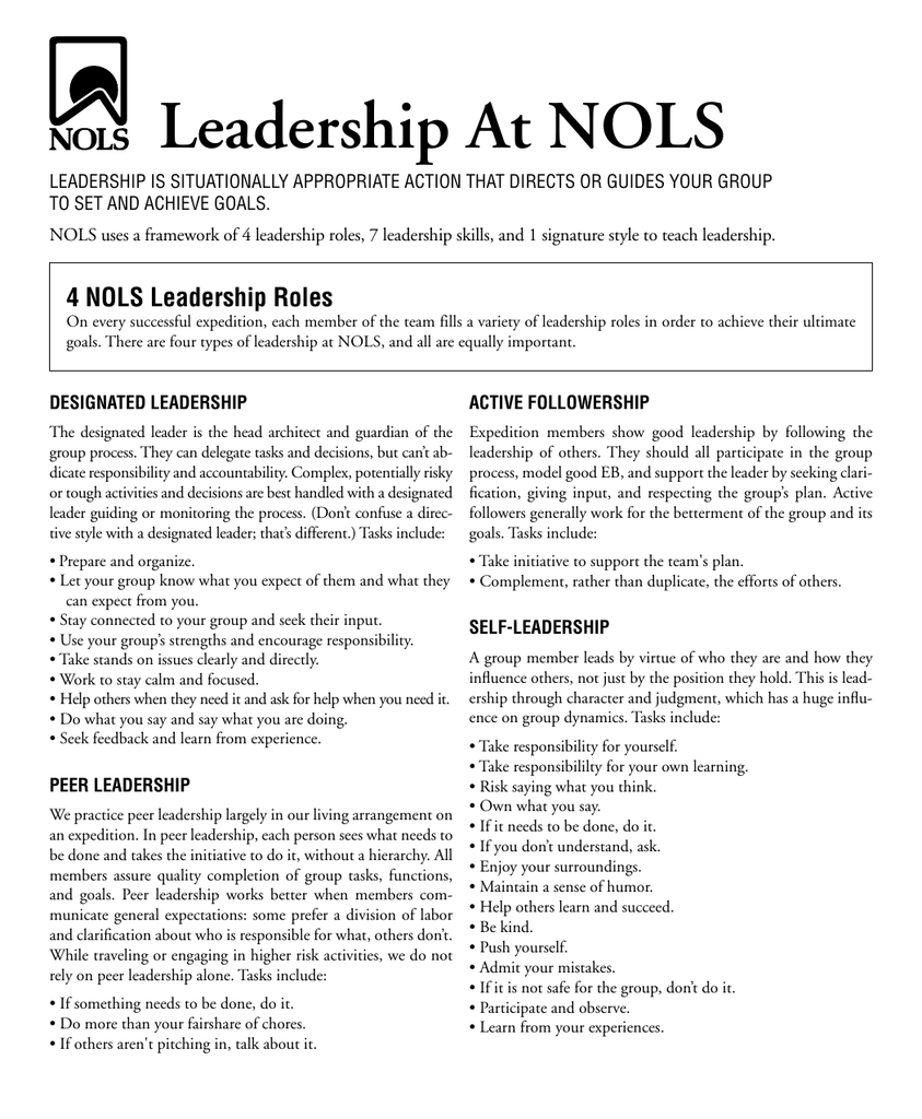 Leadership At NOLS