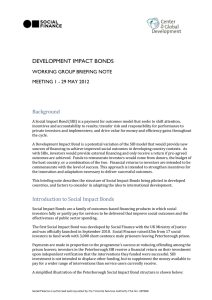 DEVELOPMENT IMPACT BONDS Background WORKING GROUP BRIEFING NOTE