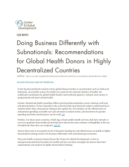Doing Business Differently with Subnationals: Recommendations for Global Health Donors in Highly