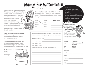 Reading/Language Arts Grades 3-4 Watermelons are sweet and refreshing. Fun Facts
