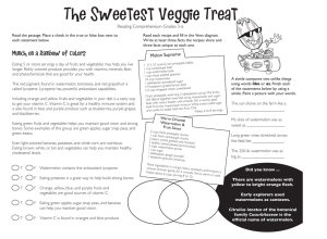 The Sweetest Veggie Treat Reading Comprehension Grades 5-6