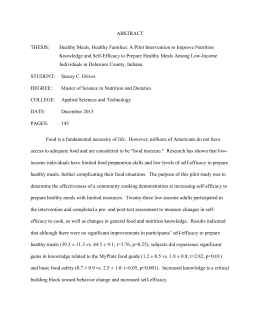 ABSTRACT THESIS: Healthy Meals, Healthy Families: A Pilot Intervention to Improve Nutrition