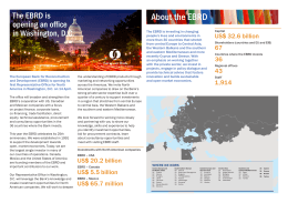 About the EBRD The EBRD is opening an office in Washington, D.C.