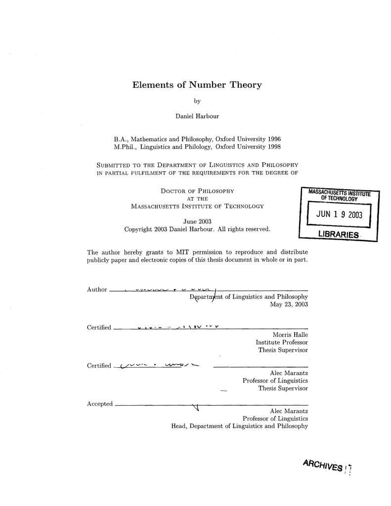 Elements of Number Theory