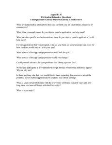 Appendix G CS Student Interview Questions Undergraduate Library Student/Library Collaborative
