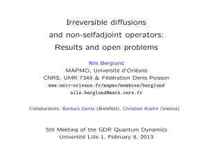 Irreversible diffusions and non-selfadjoint operators: Results and open problems