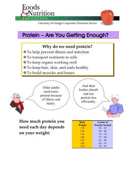 Protein – Are You Getting Enough? Why do we need protein?