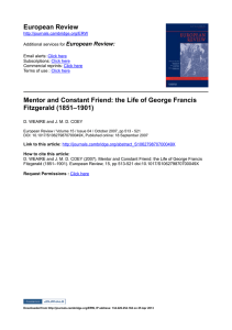 European Review Mentor and Constant Friend: the Life of George Francis  Fitzgerald (1851–1901) European Review: