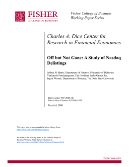 Charles A. Dice Center for Research in Financial Economics