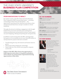 Business Plan ComPetition The OhiO STATe UniverSiTy from innovations to impact 450