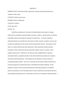 ABSTRACT DISSERTATION: South Korean Male Adolescents' Internal and External Influences in