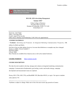 Tentative syllabus Fisher College of Business The Ohio State University