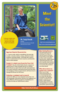 Ms. Sonja Oswalt Forester Most Exciting Discovery Important Scientist Characteristics