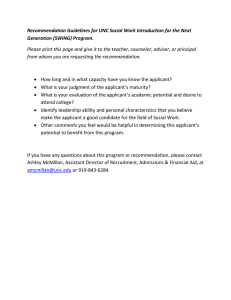Recommendation Guidelines for UNC Social Work Introduction for the Next