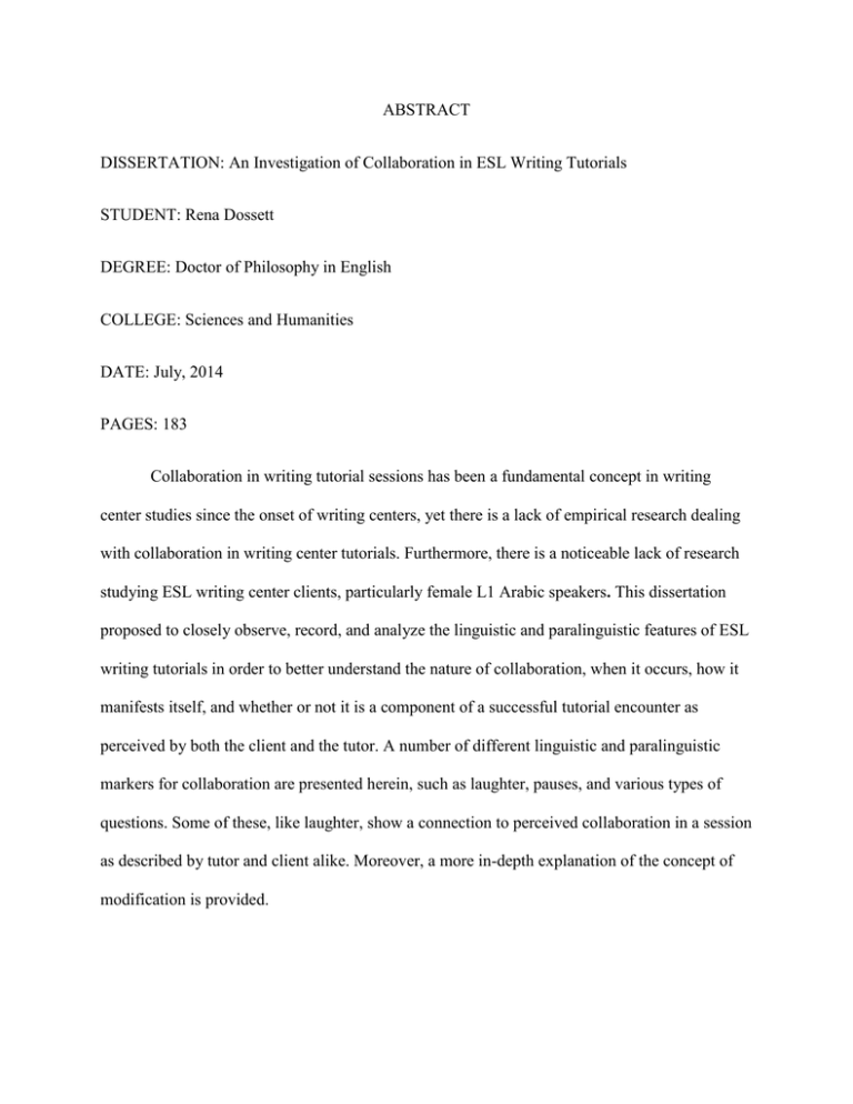order esl dissertation abstract