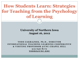 How Students Learn: Strategies for Teaching from the Psychology of Learning