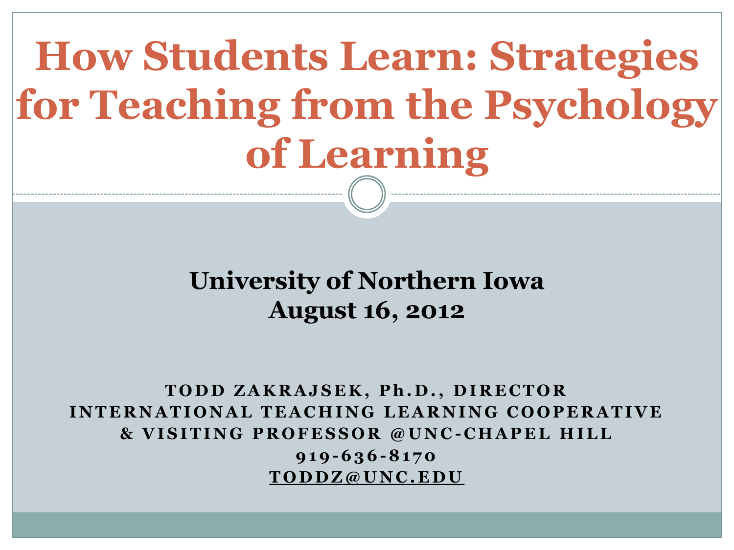 How Students Learn: Strategies for Teaching from the