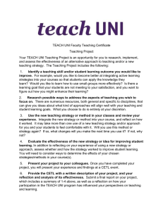TEACH UNI Faculty Teaching Certificate Teaching Project