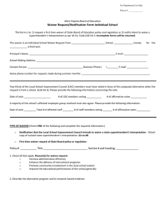 Waiver Request/Notification Form-Individual School