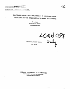 L(Q44a cc ELECTRON DENSITY DISTRIBUTION DISCHARGE  IN THE  PRESENCE  OF