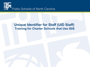 Unique Identifier for Staff (UID Staff)