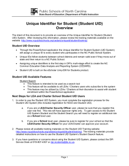 Unique Identifier for Student (Student UID) Overview