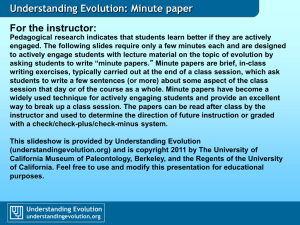 Understanding Evolution: Minute paper For the instructor: