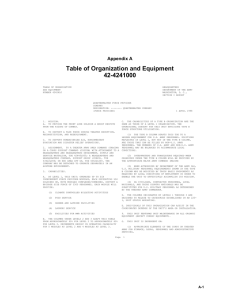 Table of Organization and Equipment 42-4241000 Appendix A