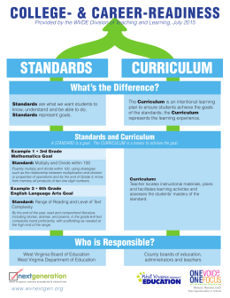 STANDARDS CURRICULUM COLLEGE- & CAREER-READINESS What's the Difference?