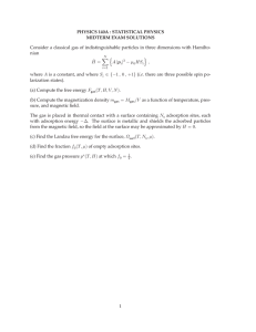PHYSICS 140A : STATISTICAL PHYSICS MIDTERM EXAM SOLUTIONS nian