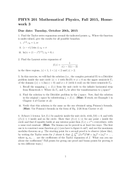PHYS 201 Mathematical Physics, Fall 2015, Home- work 3
